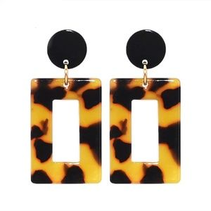 Jewelry - Acrylic Geometric Leopard Drop Earrings